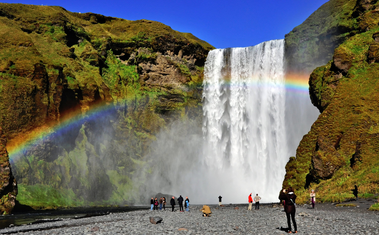 Skógafoss and a beautiful rainbow