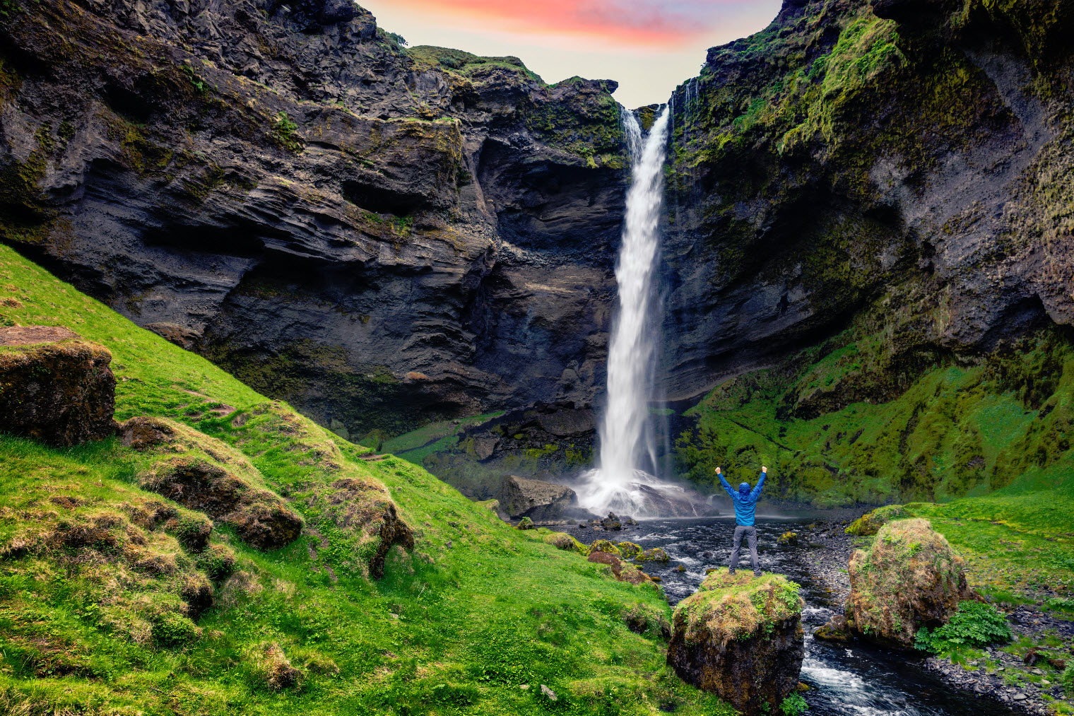 Kvernufoss waterfall is located on the South coast of Iceland