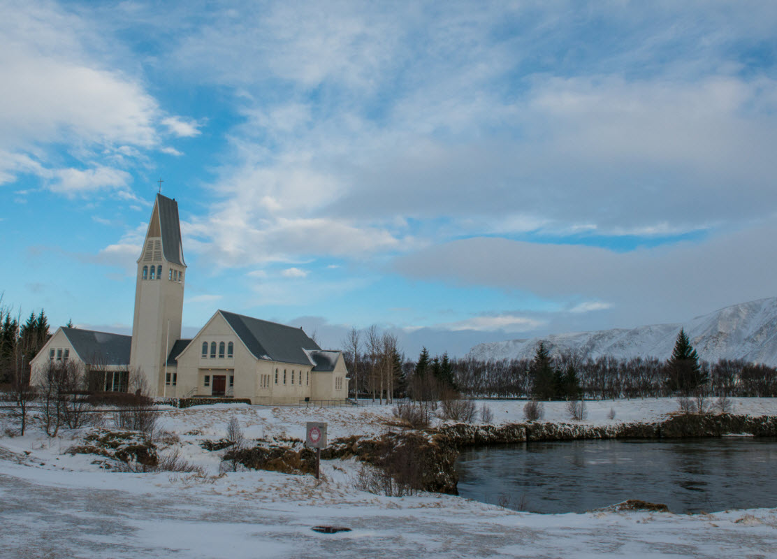 The church of Selfoss during winter in Iceland