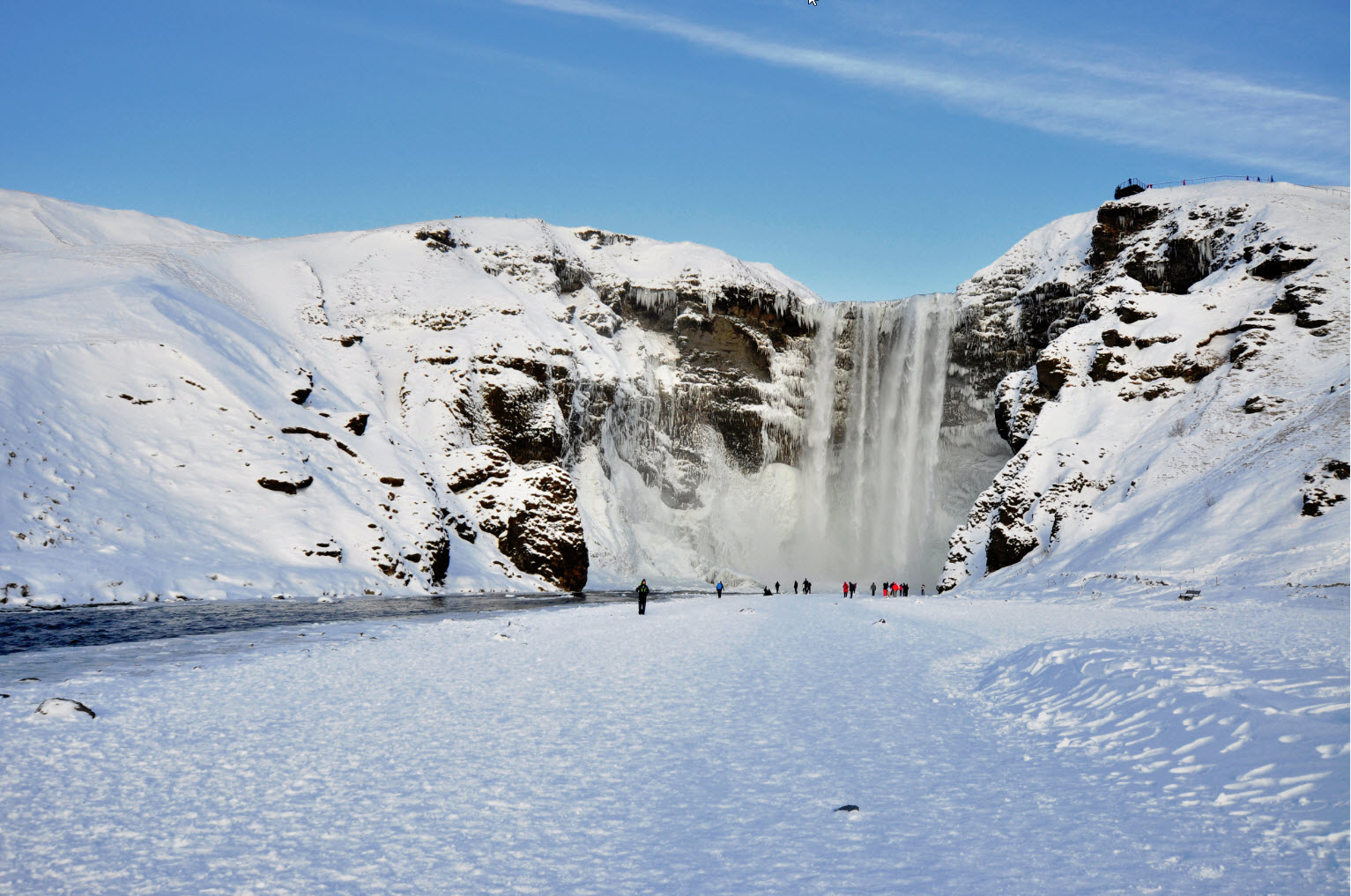 Amazing Skógafoss in Winter Time