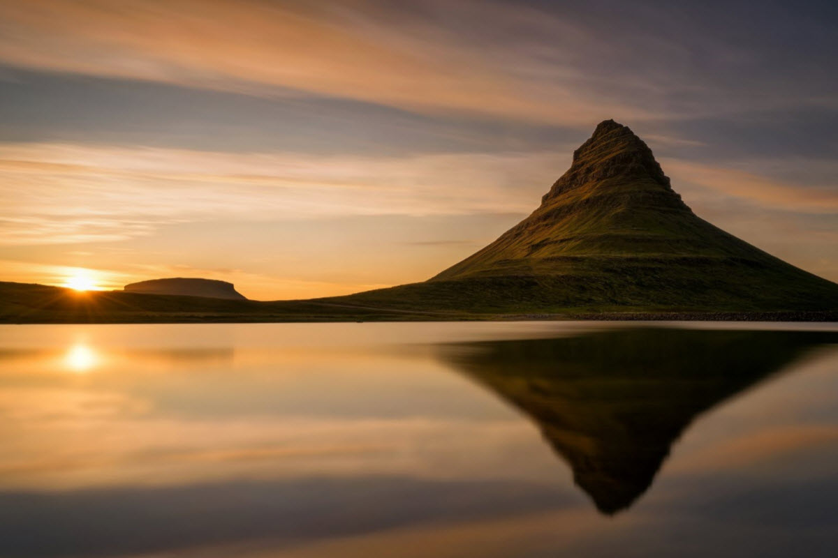 Sunset by Kirkjufell Mountain
