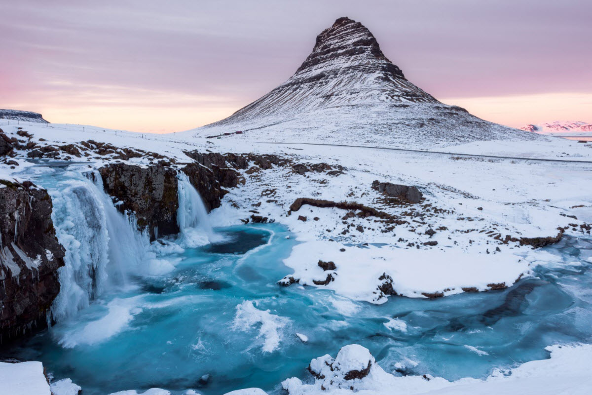 Kirkjufell mountain at winter time
