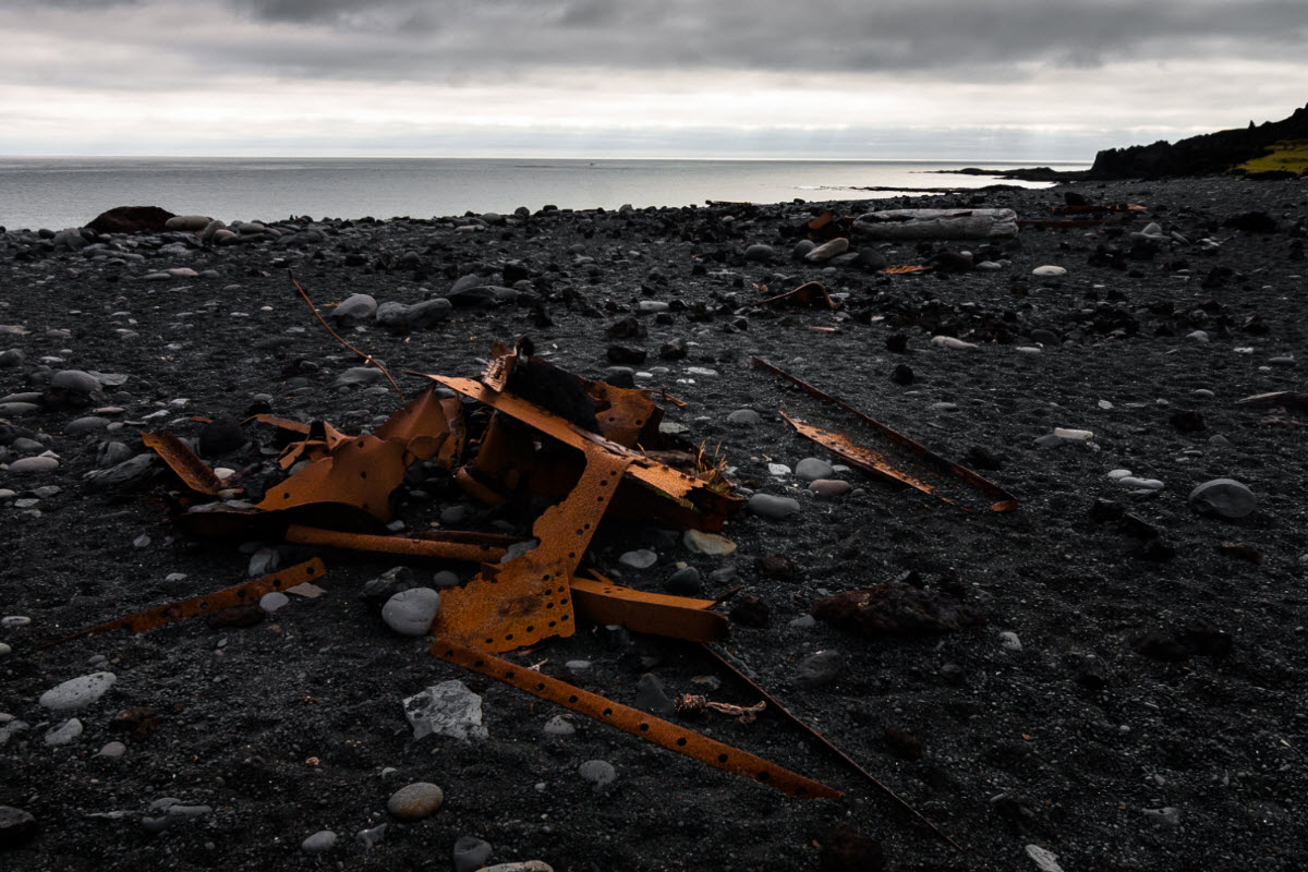 The ruins of a shipwreck from the British fishing ship The Epina GY7 in Djúpalónssandur Iceland