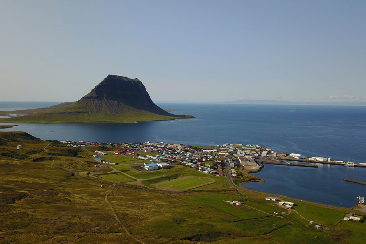 Grundarfjordur town with mount Kirkjufell in the background