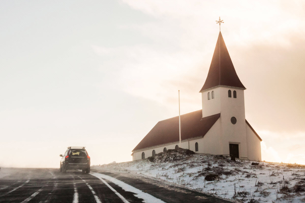 The road to the church in Vík Iceland