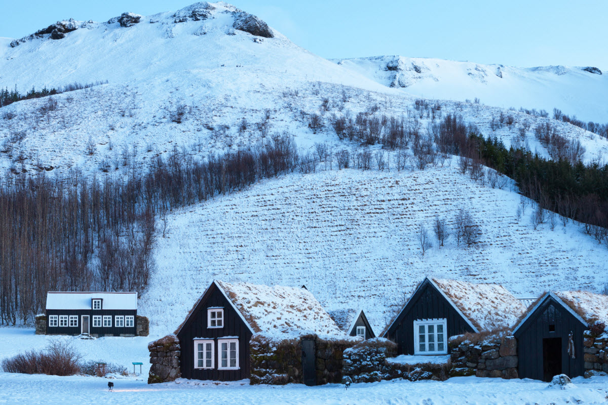 The old houses at Skógar during winter in Iceland