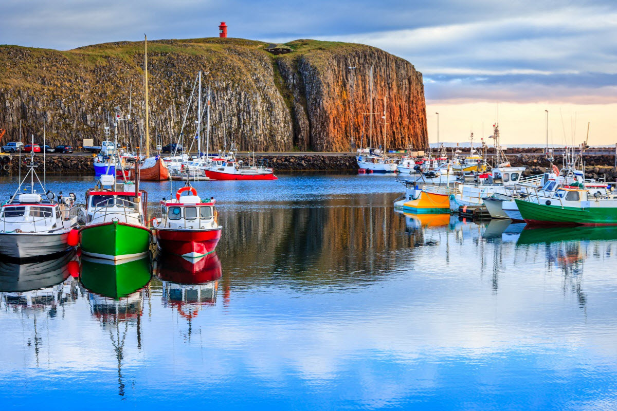 Colorful boats at the Harbor in Stykkisholmur Iceland