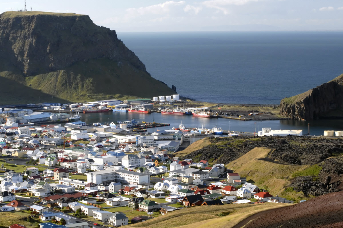 The view over the town in Vestmannaeyjar island