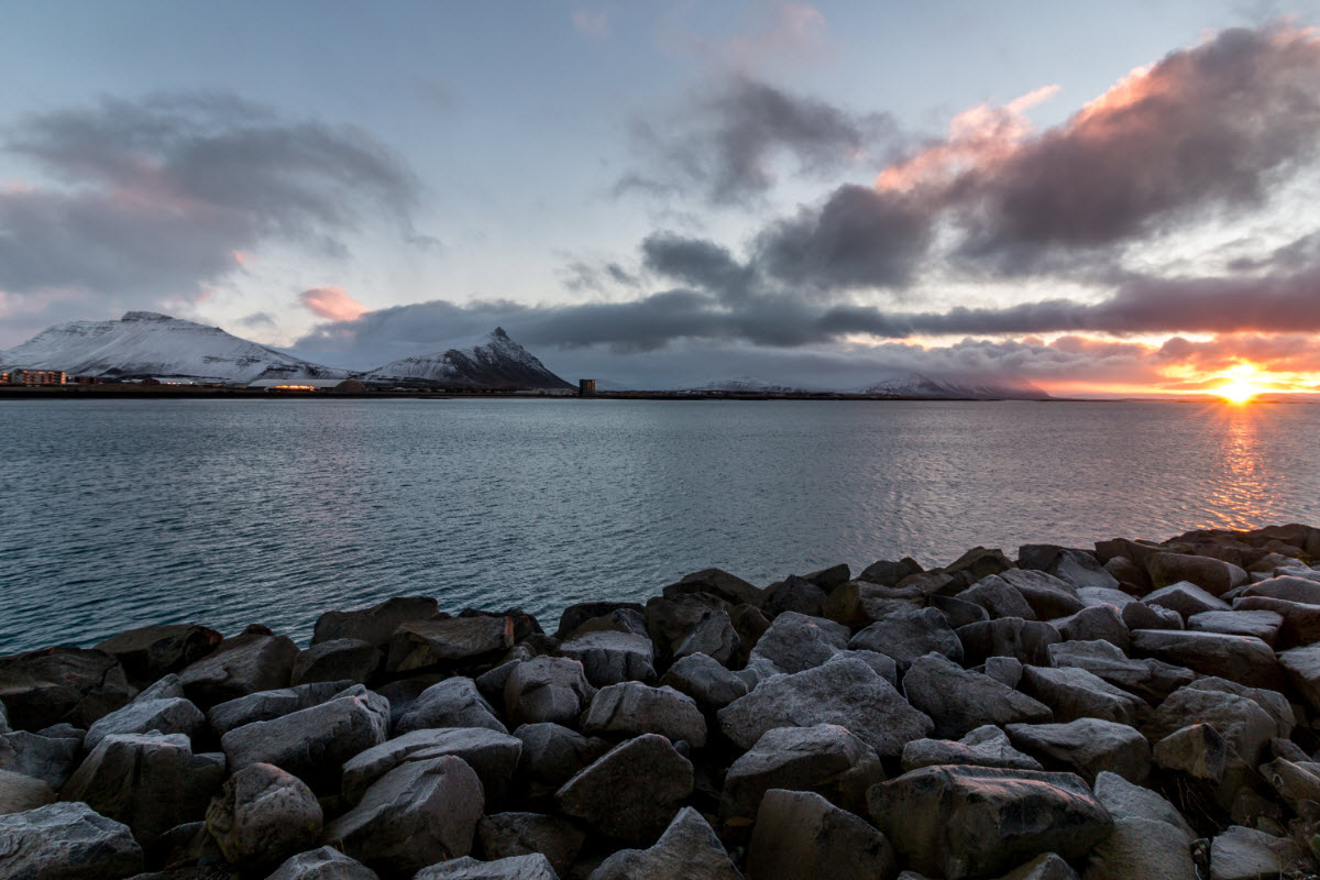 Sunrise view from Akranes harbor with Akrafjall Mountain in the background