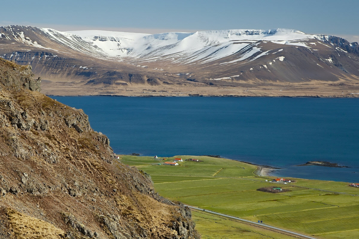 The view from the Akrafjall Mountain in Akranes Iceland