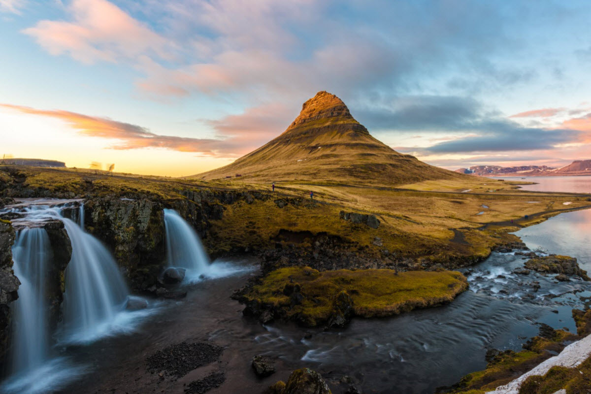 The beautiful mountain Kirkjufell close to the town Grundarfjordur in Iceland