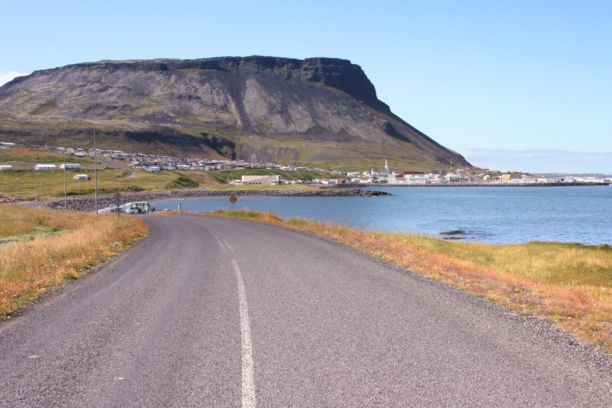 The Road to the town Olafsvik in West Iceland