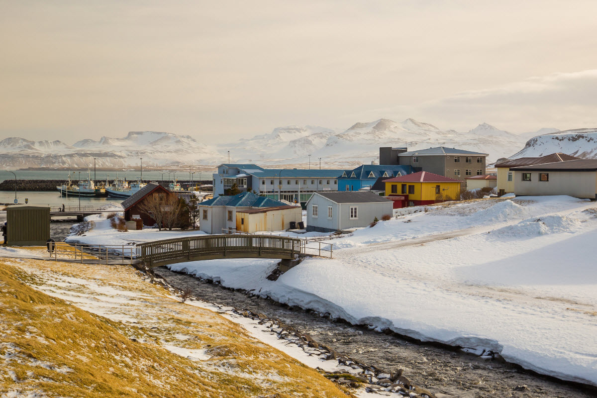 The town Olafsvik in West Iceland during winter