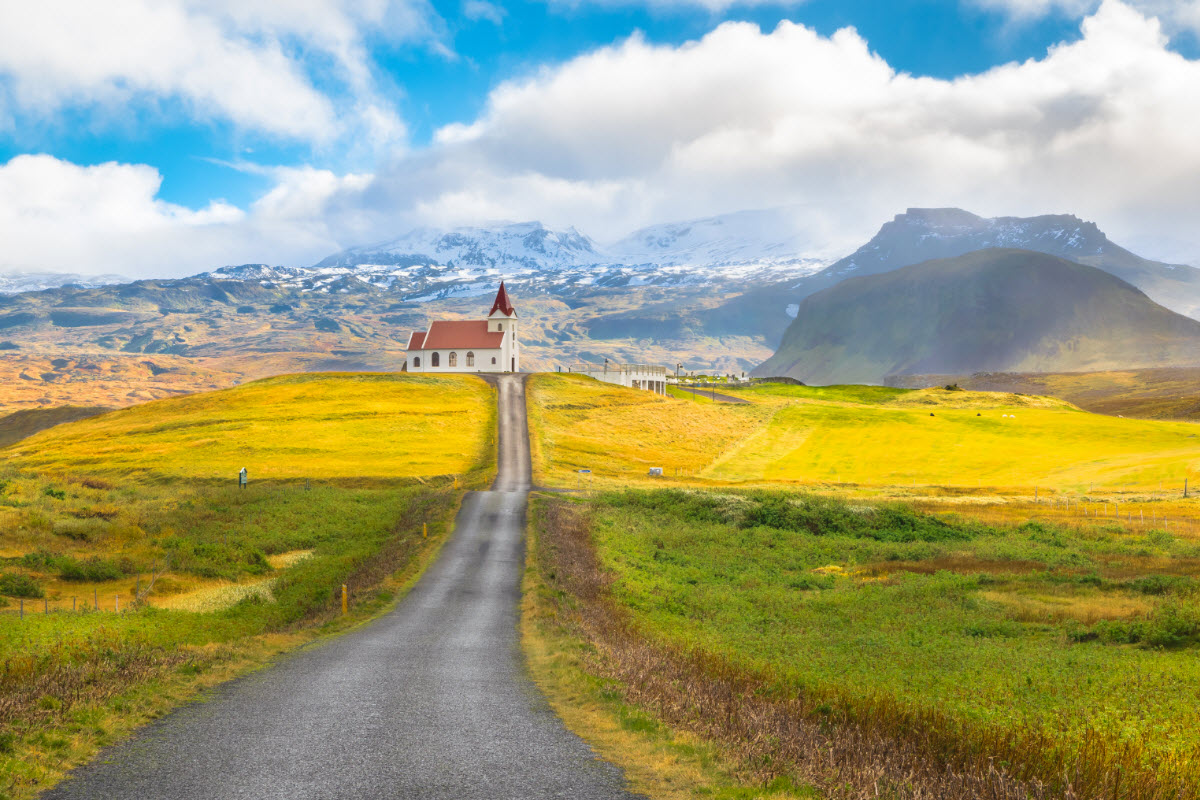 The beautiful Ingjaldsholskirkja church in the town Hellissandur Iceland