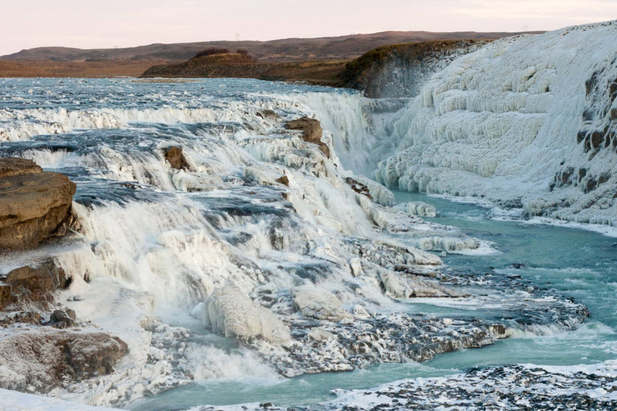 Gullfoss looks stunning when it freezes over during the winter