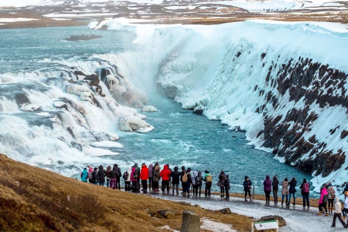 Gullfoss waterfall during winter in Iceland