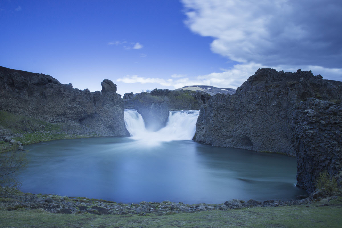 Hjalparfoss waterfall in Iceland