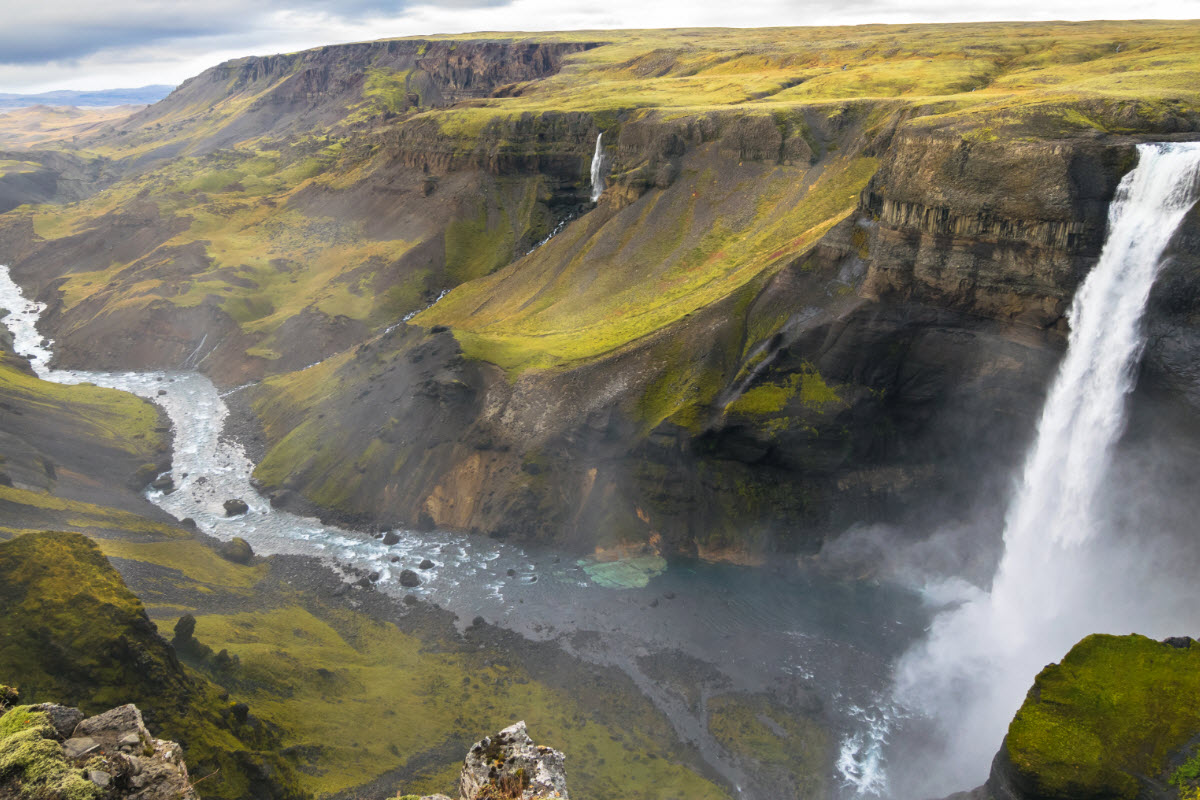 The amazing view over Haifoss waterfall