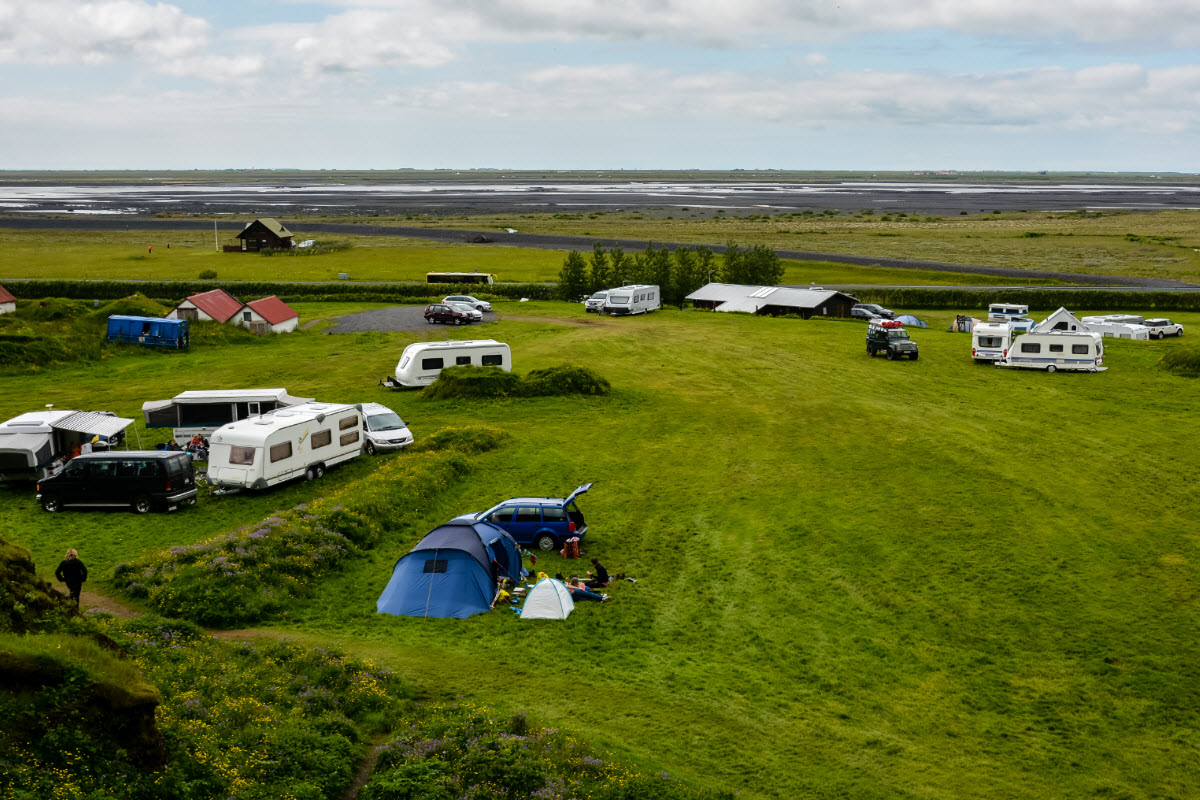 The camping area close to Gljufrabui waterfall in South Iceland