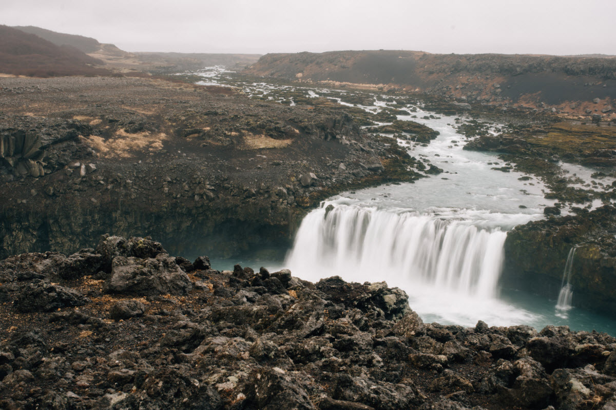 Þjofafoss waterfall runs through Merkurhraun lava field in South Iceland
