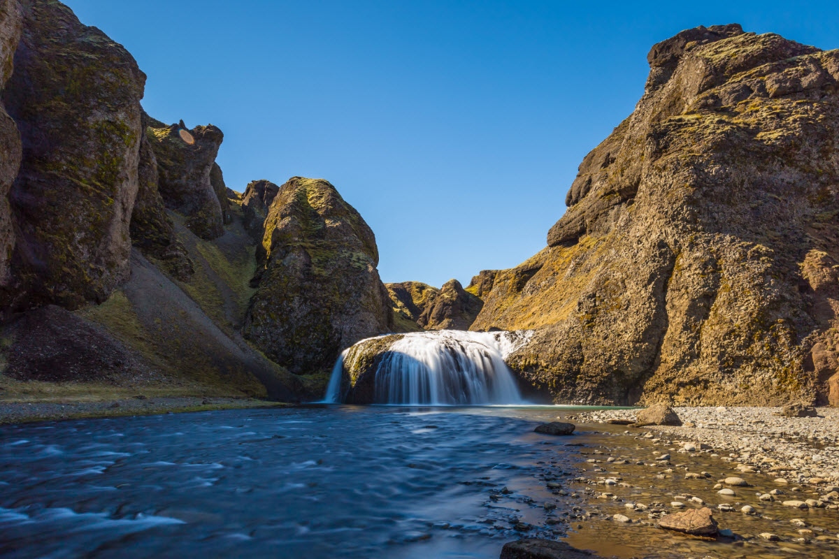 Stjornarfoss waterfall is about 10 meters high located in South Iceland
