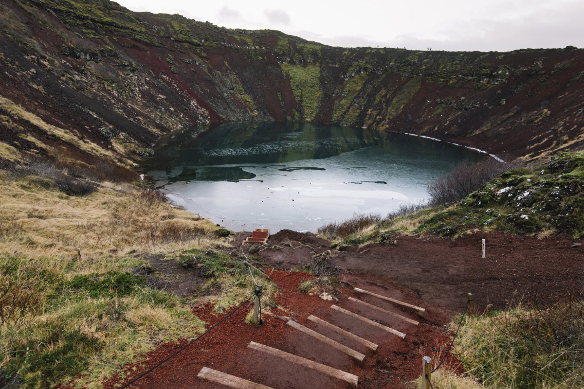 It is possible to hike down to the crater lake