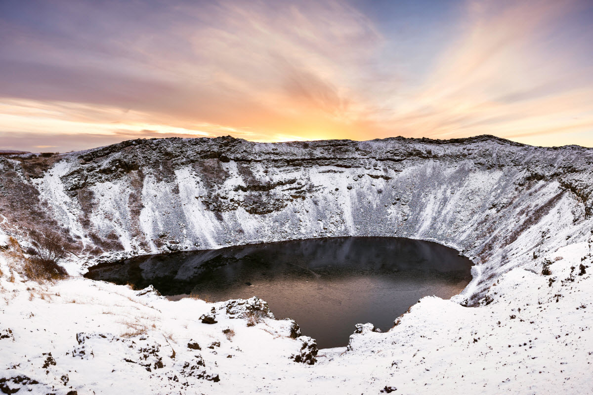 The landscape around Kerid is beautiful during winter in Iceland
