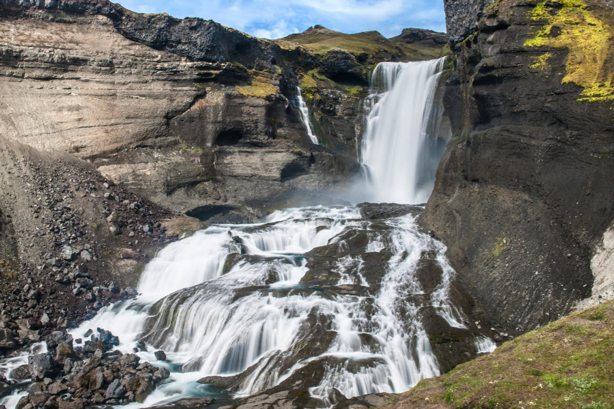 Ofærufoss is a beautiful waterfall and can be found near Eldgja canyon