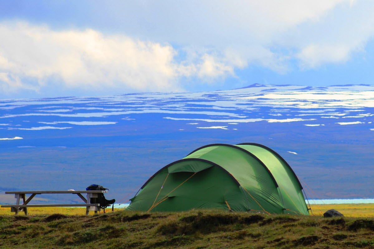 Camping with a view over Langjokull Glacier in Iceland