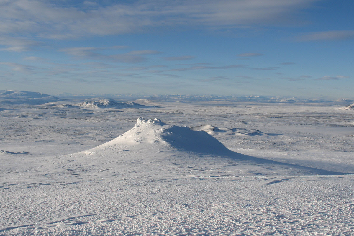 The landscape at Langjokull glacier