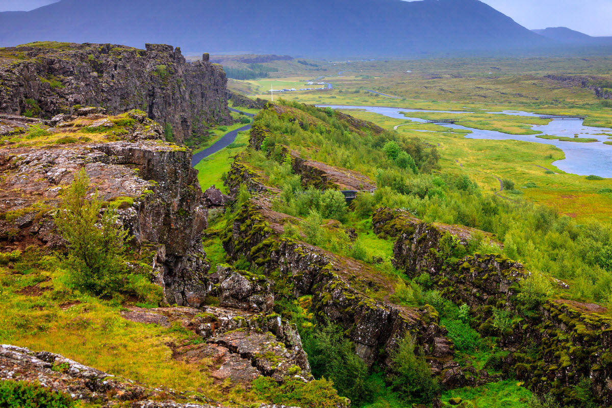 The rift valley in Thingvellir National Park Iceland