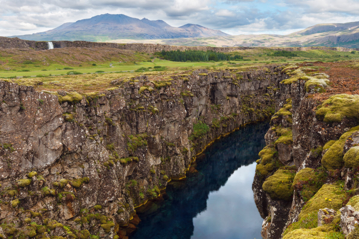 At Thingvallir National Park it is possible to see where the Eurasian and North American tectonic plates meet