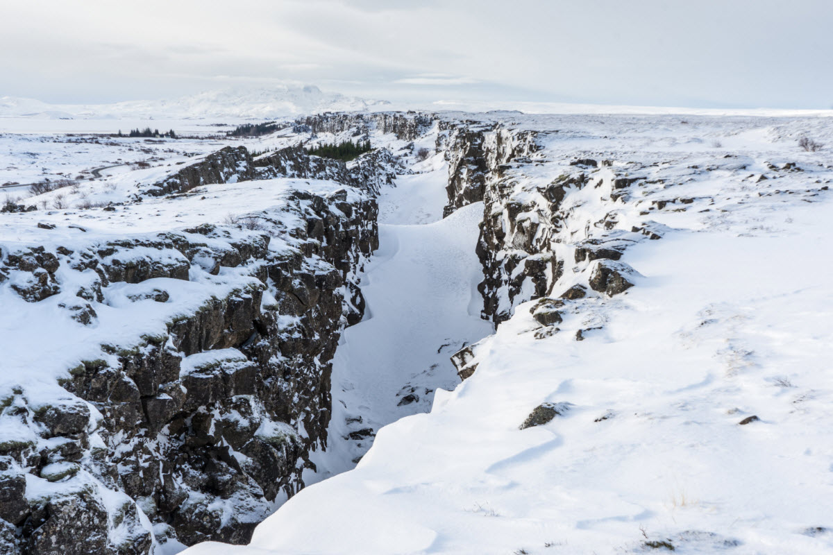 Where the tectonic plates meet at Thingvellir National Park during winter in Iceland