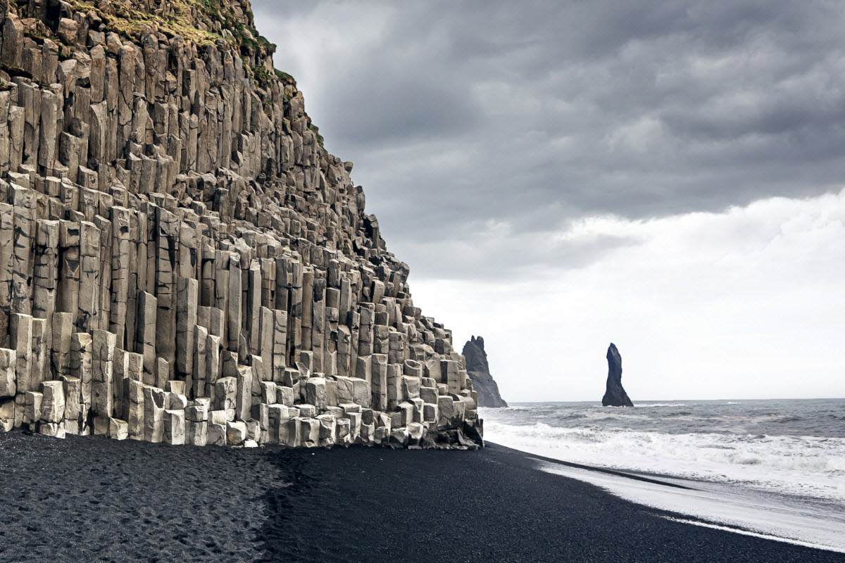 The beautiful basalt formation at Reynisfjara black sand beach in Iceland