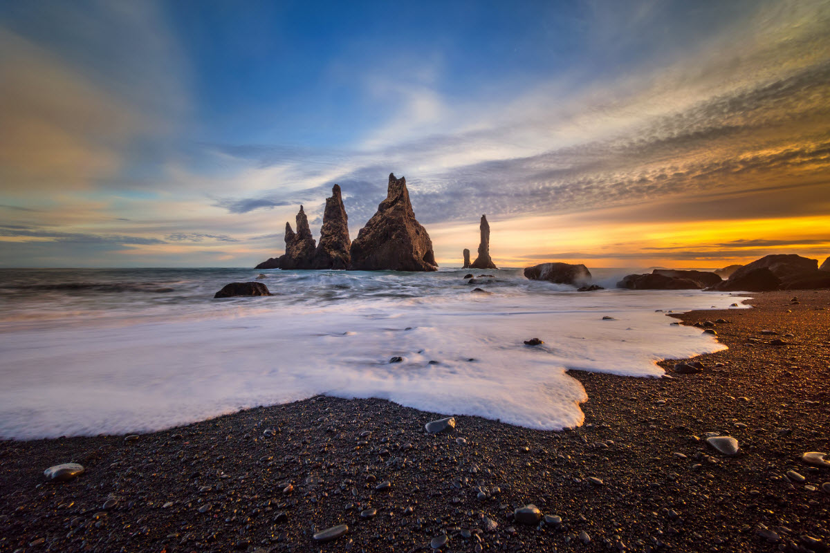 Reynisdrangar in Reynisfjara black sand beach in South Iceland
