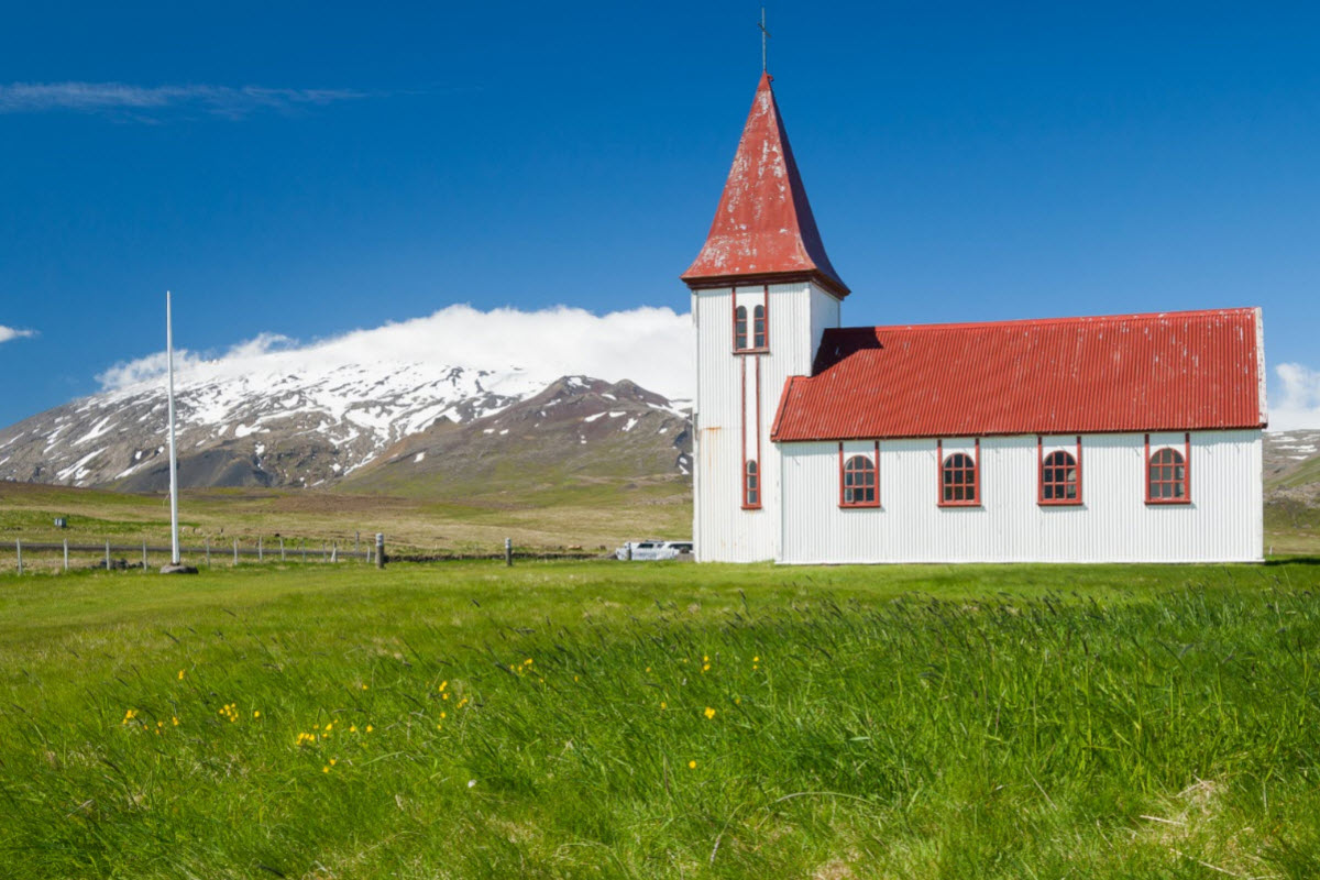 The church in Hellnar in West Iceland with Snæfellsjokull glacier in the background