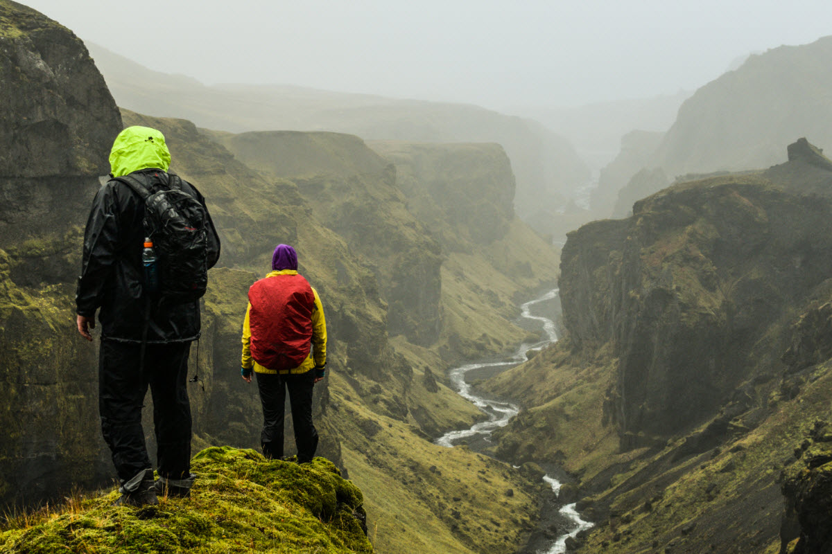 Hiking over Hvannagil gorge in Thorsmork in the highland of Iceland