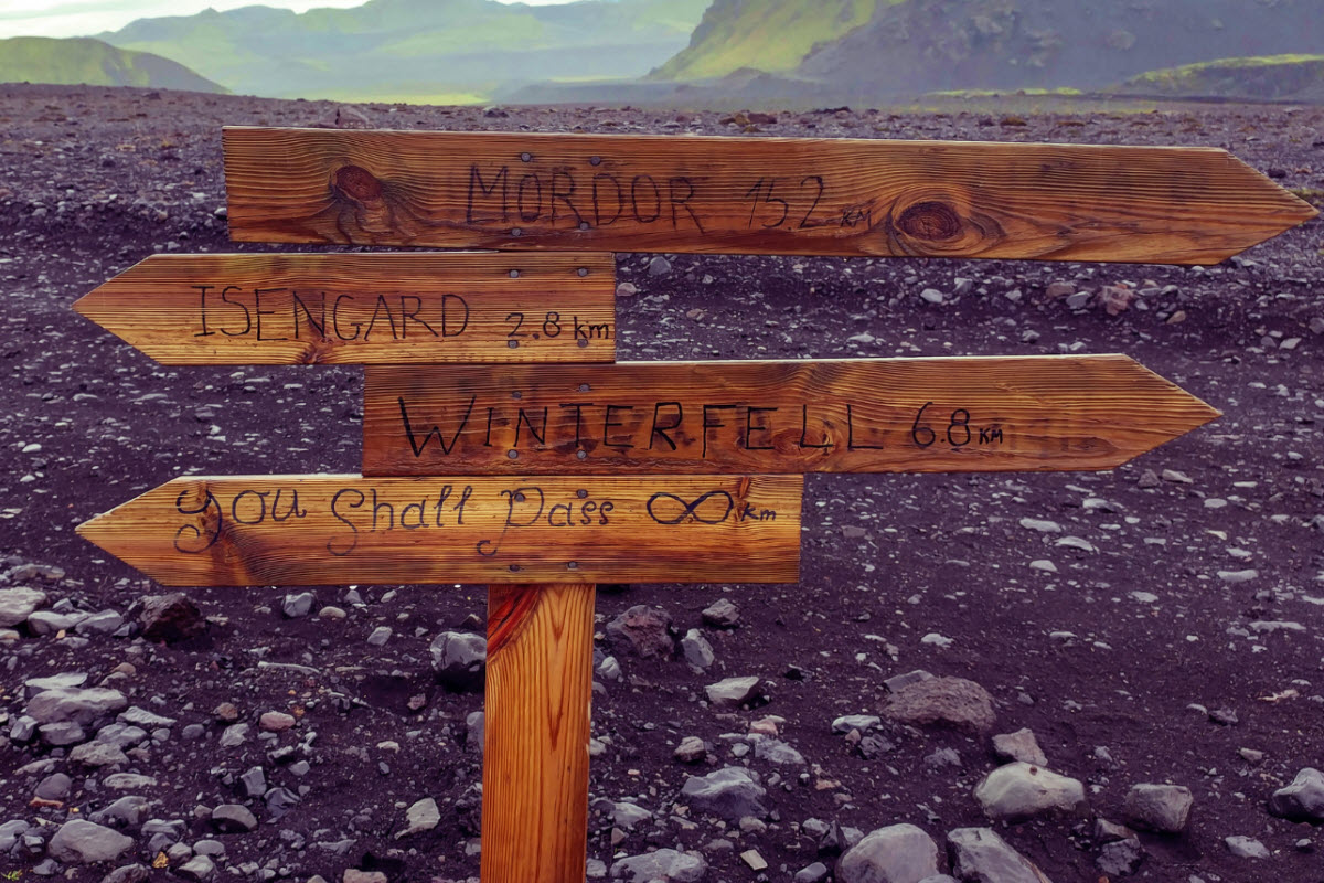 Signs on the way on Laugavegur trek