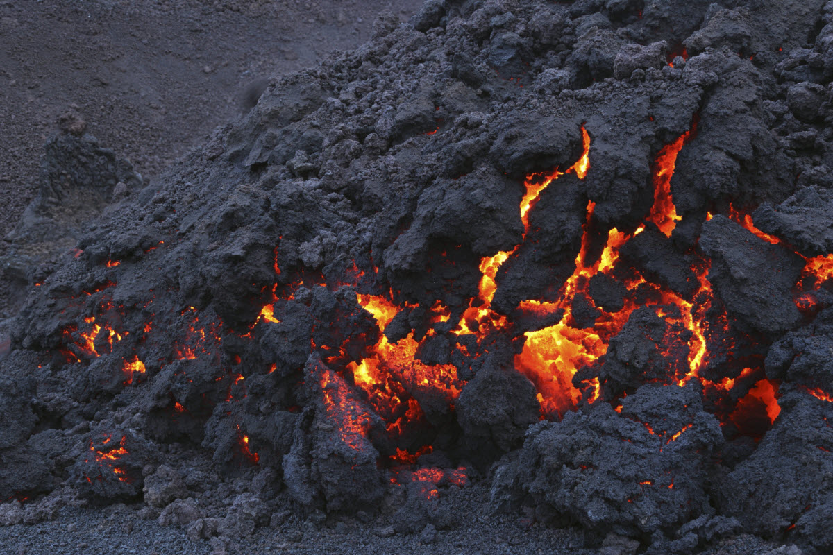 Volcanic lava at the Fimmvorduhals from the eruption in 2010