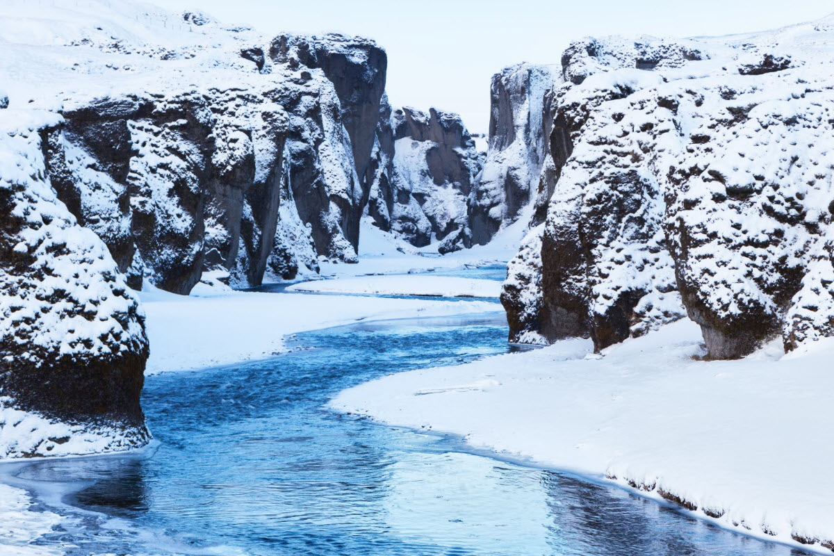 Fjadrargljufur Canyon during winter in Iceland