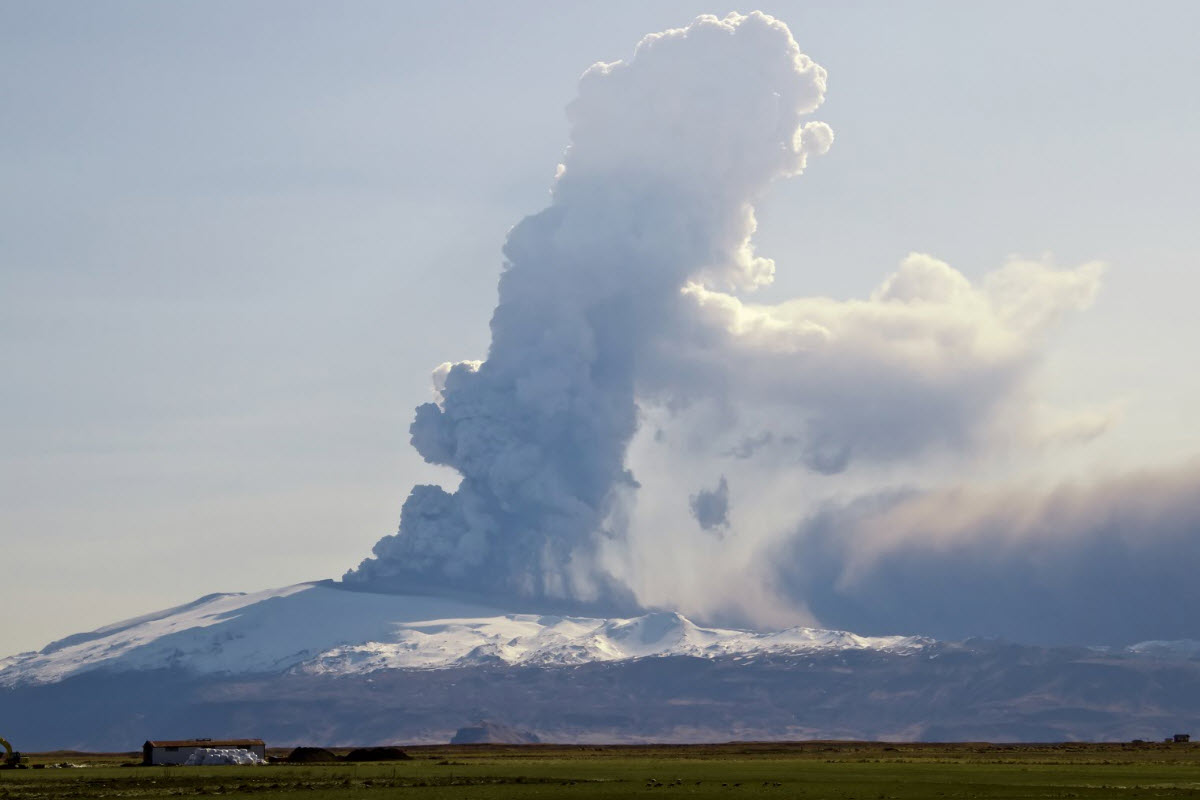 Eyjafjallajokull volcano erupted in 2010 causing a lot of trouble with the air traffic all over Europe