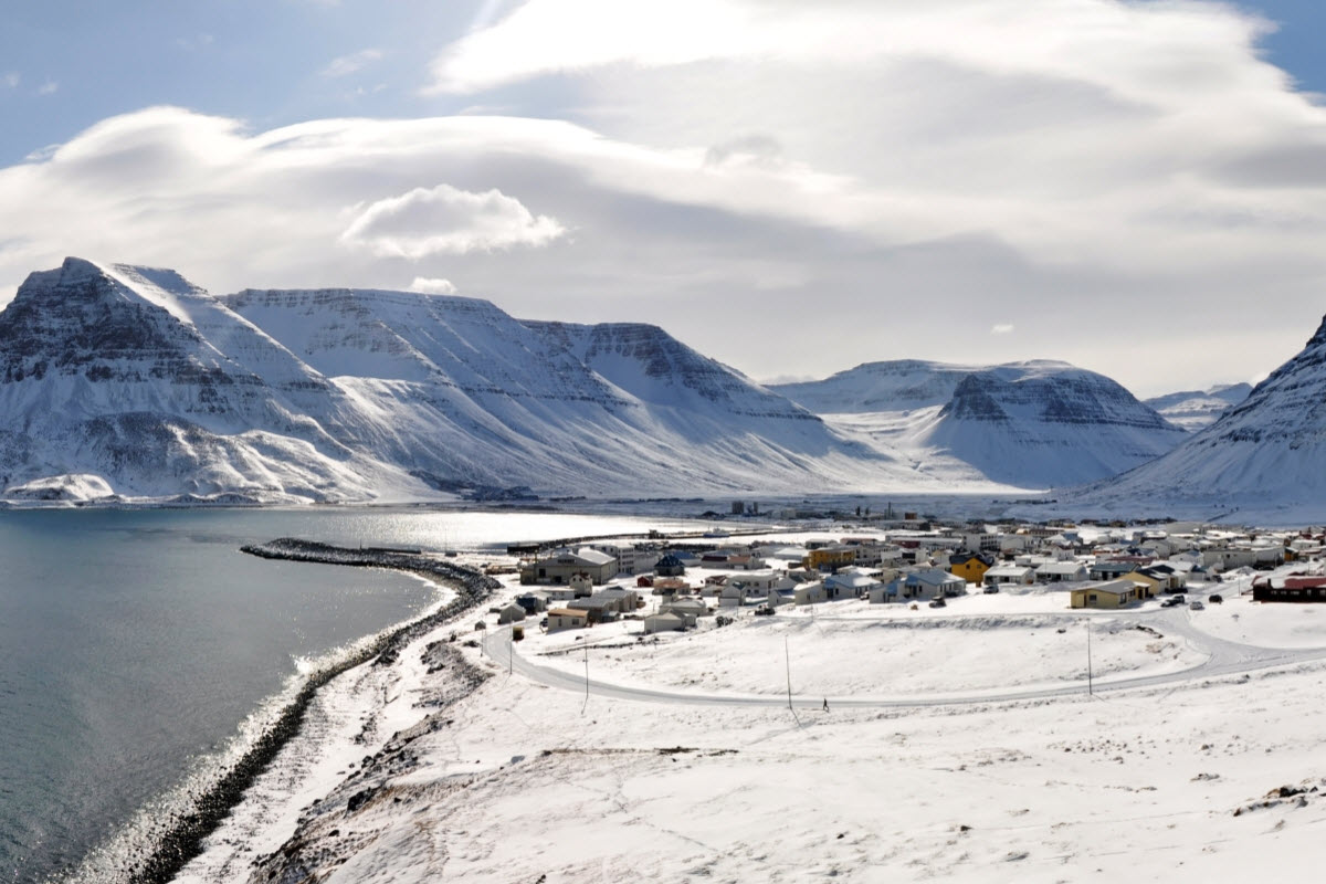 The town Bolungarvik during winter in Iceland