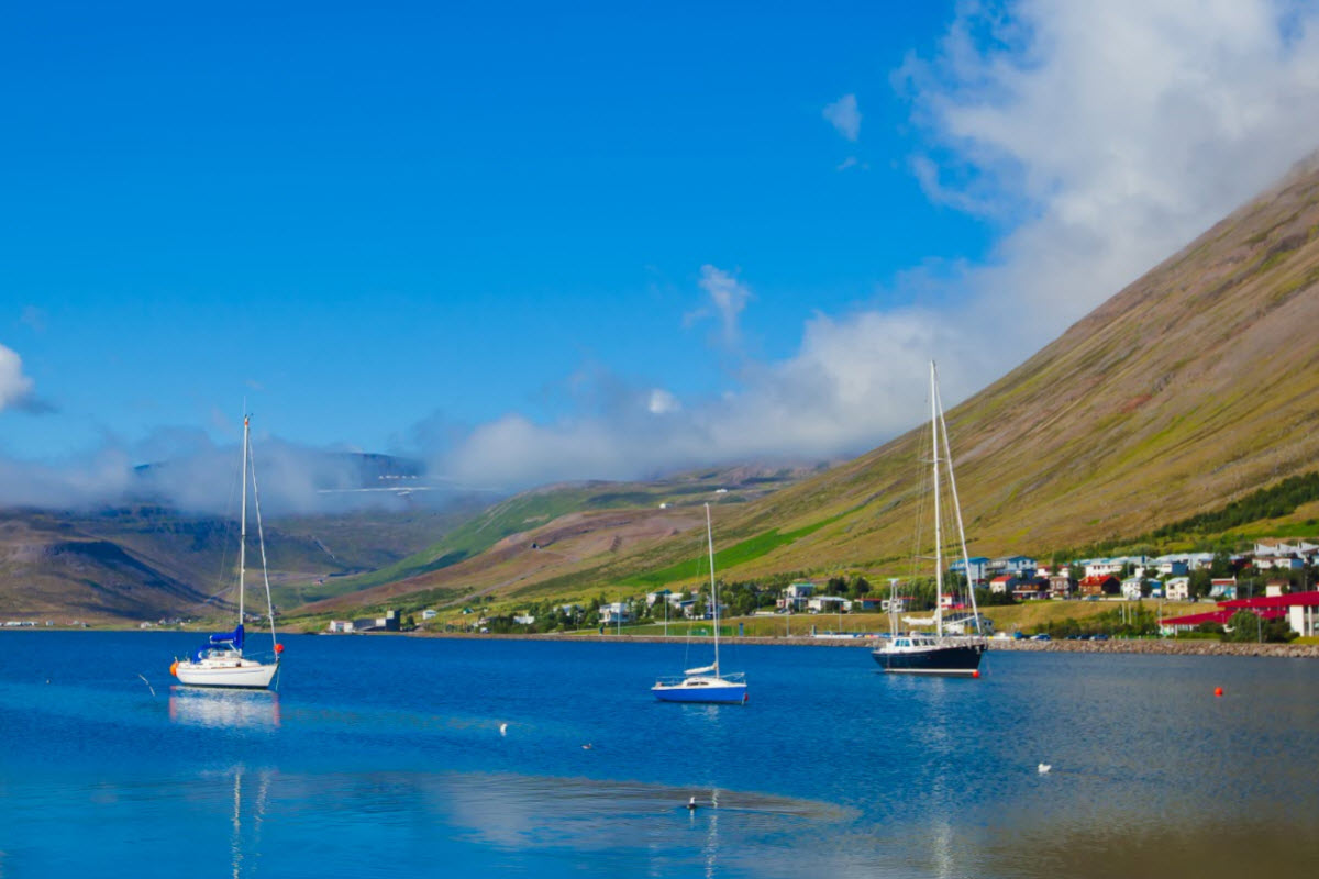 The coastline of Ísafjörður town in the Westfjords of Iceland