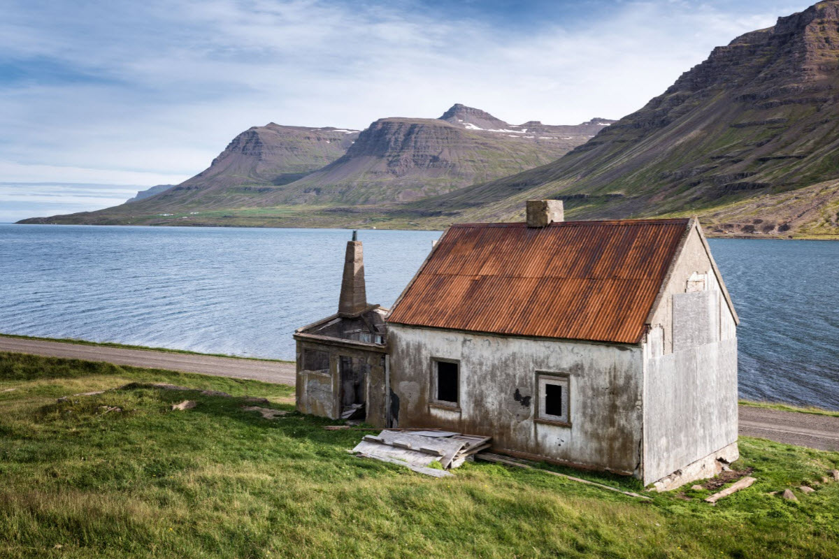 Old abandoned house in Seydisfjordur fjord
