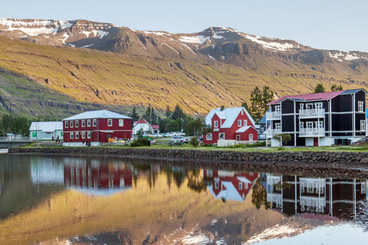 Many beautiful houses in Seydisfjordur town