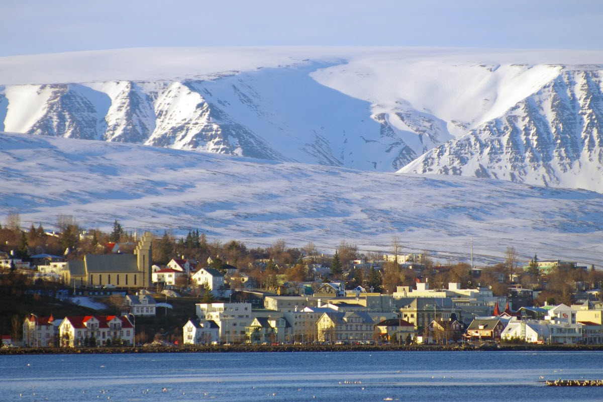 Beautiful view over the mountains in Akureyri