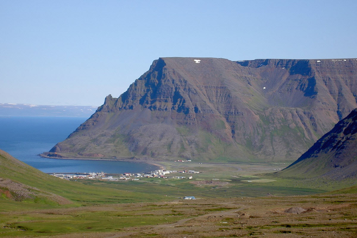 View over the town Bolungarvik in the Westfjords of Iceland