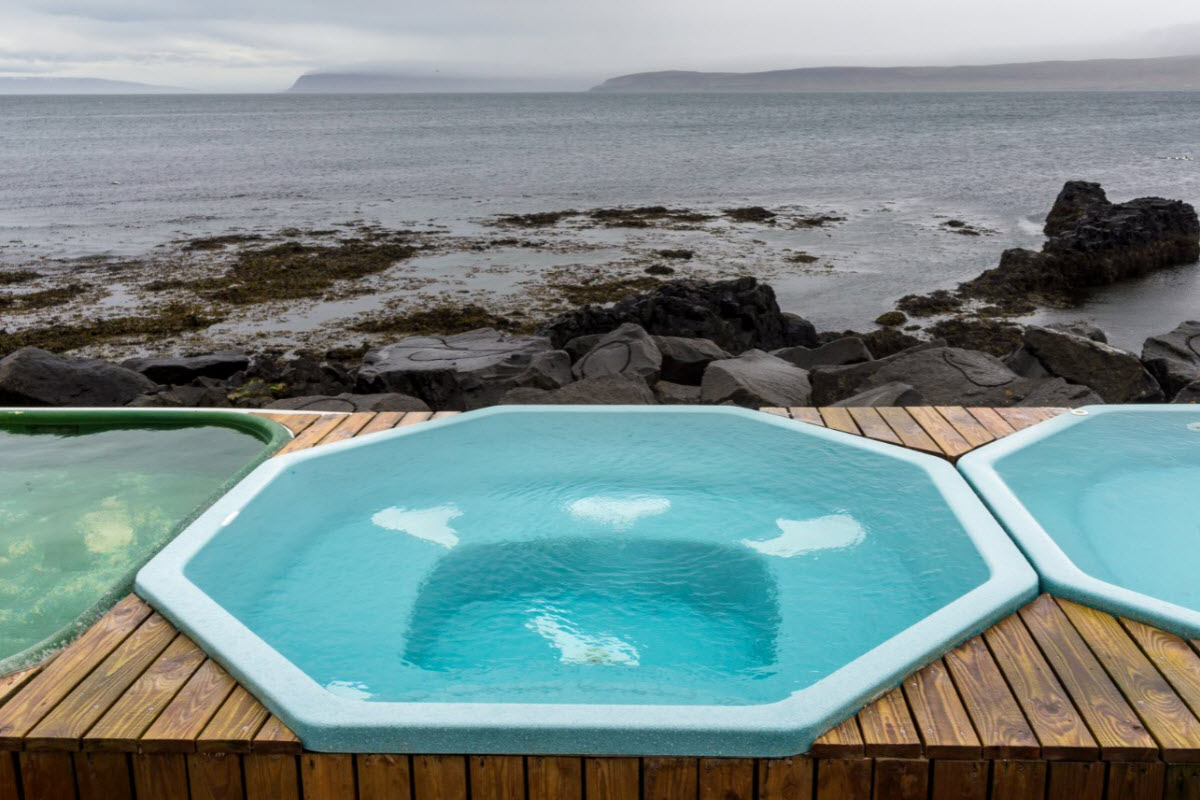 The hot tubs by the shore in Drangsnes is a great place to relax after a long day and maybe meet some locals