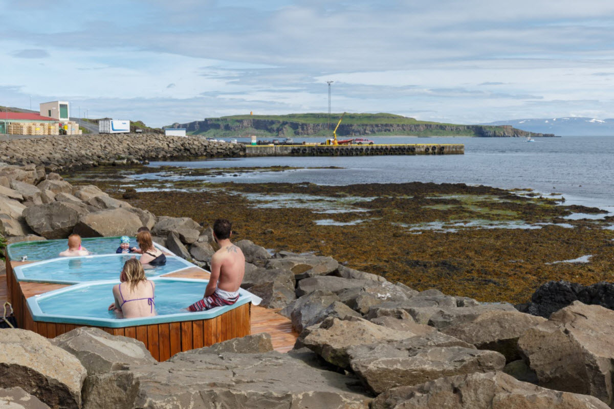 The view over to Grímsey island from the hot tubs in Drangsnes