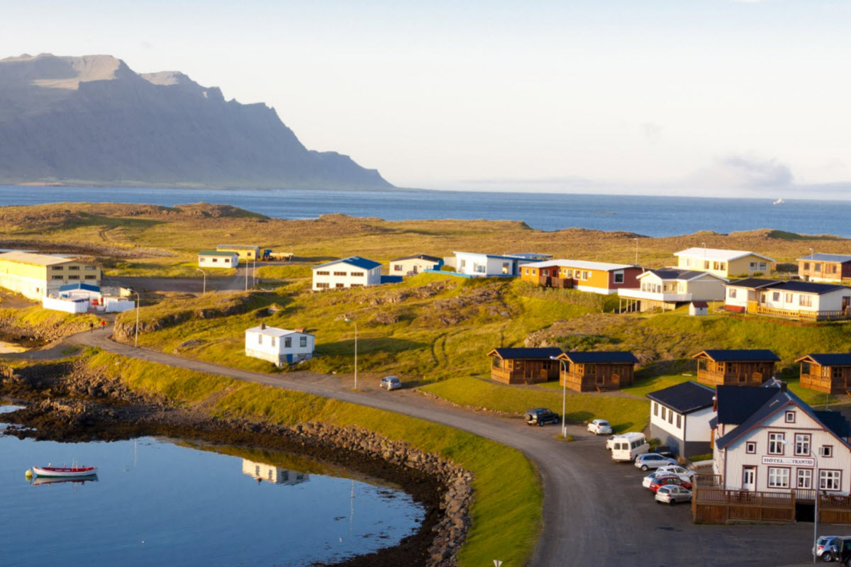 View over the town Djupivogur in East Iceland
